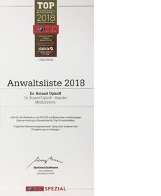 Focus-Spezial Top-Anwalt 2018